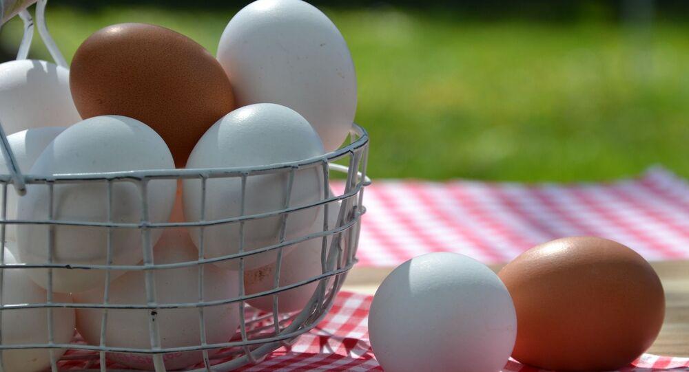 Jajka z białymi i brązowymi skorupkami
