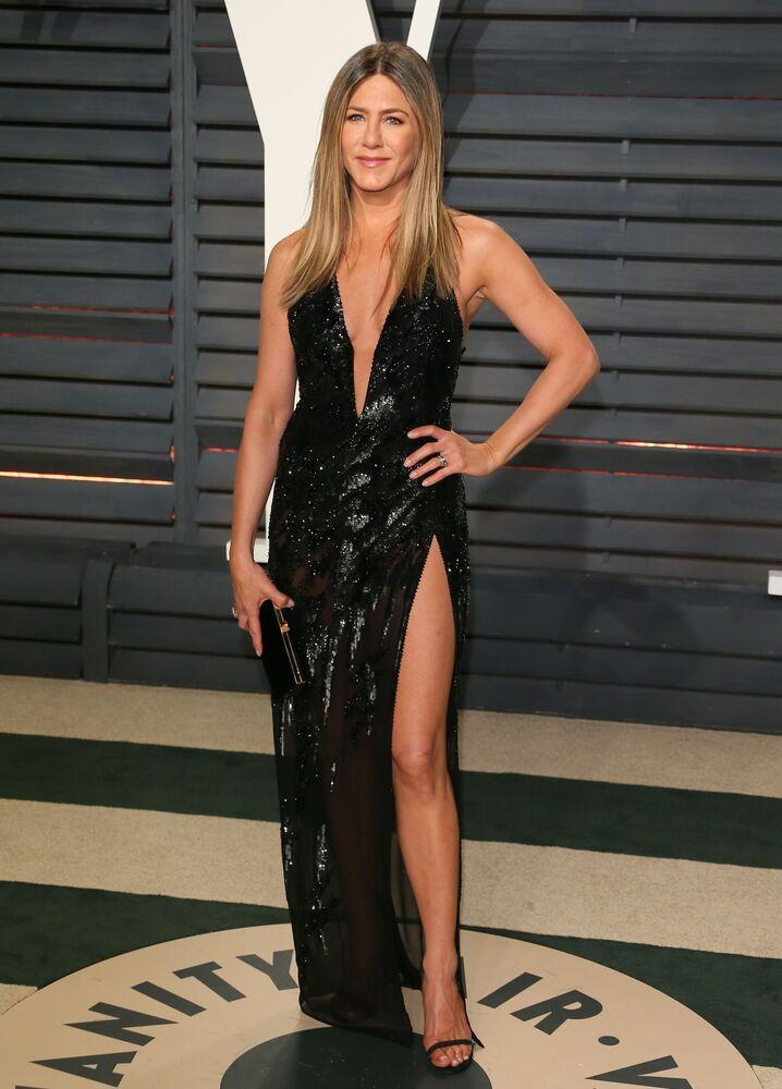 Amerykańska aktorka Jennifer Aniston na imprezie Vanity Fair w Beverly Hills, Kalifornia, 2017 rok