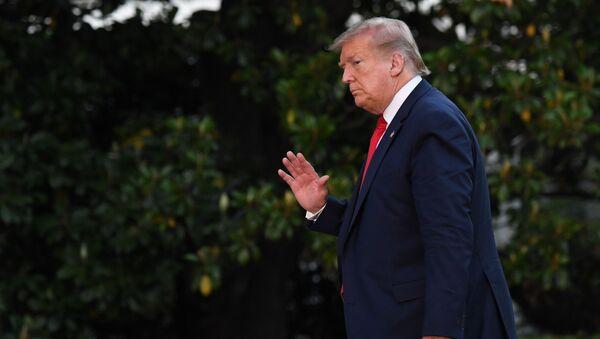 Prezydent USA Donald Trump na trawniku przed Białym Domem - Sputnik Polska