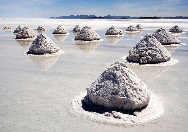 Pozostałość po wyschniętym słonym jeziorze. Powierzchnię solniska pokrywa skorupa, pod którą znajduje się niezwykle bogata w lit solanka