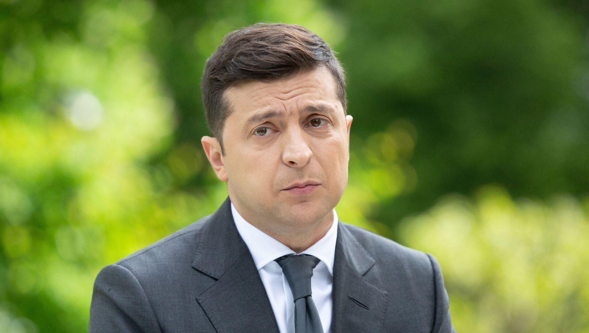 Prezydent Ukrainy Wołodymyr Zełenski na konferencji prasowej poświęconej pierwszej rocznicy swojej kadencji - Sputnik Polska, 1920, 19.02.2021