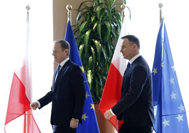 Prezydent Andrzej Duda i przewodniczący EPL Donald Tusk