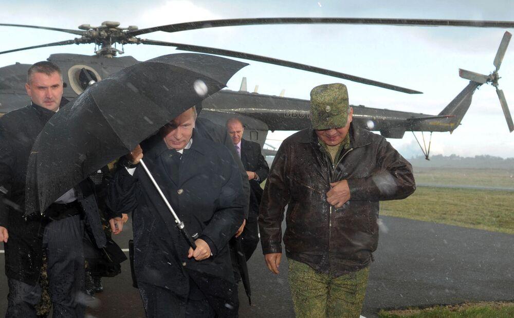 Władimir Putin na poligonie w obwodzie kaliningradzkim, 2013 rok
