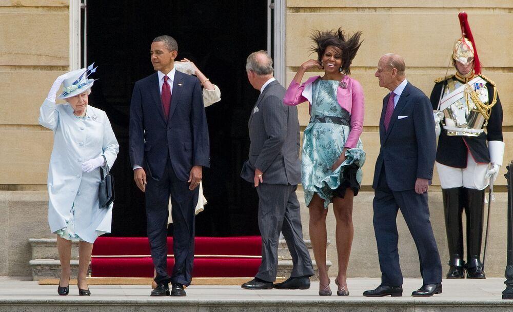 Królowa Elżbieta II, prezydent USA Barack Obama, pierwsza dama USA Michelle Obama i książę Filip, książę Edynburga w Pałacu Buckingham, 2011