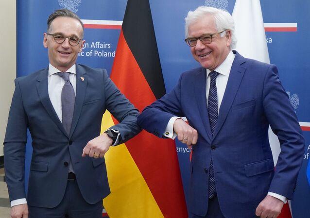 Szef niemieckiej dyplomacji Heiko Maas i minister spraw zagranicznych Polski Jacek Czaputowicz
