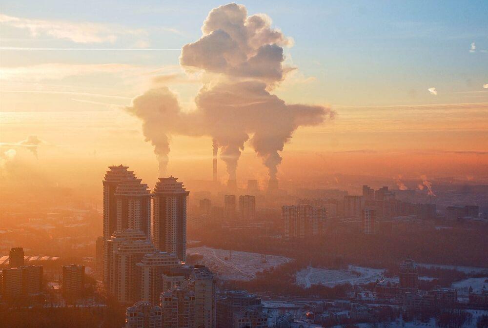 Zachód słońca na Worobiowych Górach. Moskwa