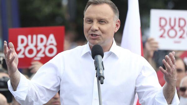 Prezydent Polski Andrzej Duda na spotkaniu z wyborcami w Jędrzejowie w województwie świętokrzyskim.   - Sputnik Polska