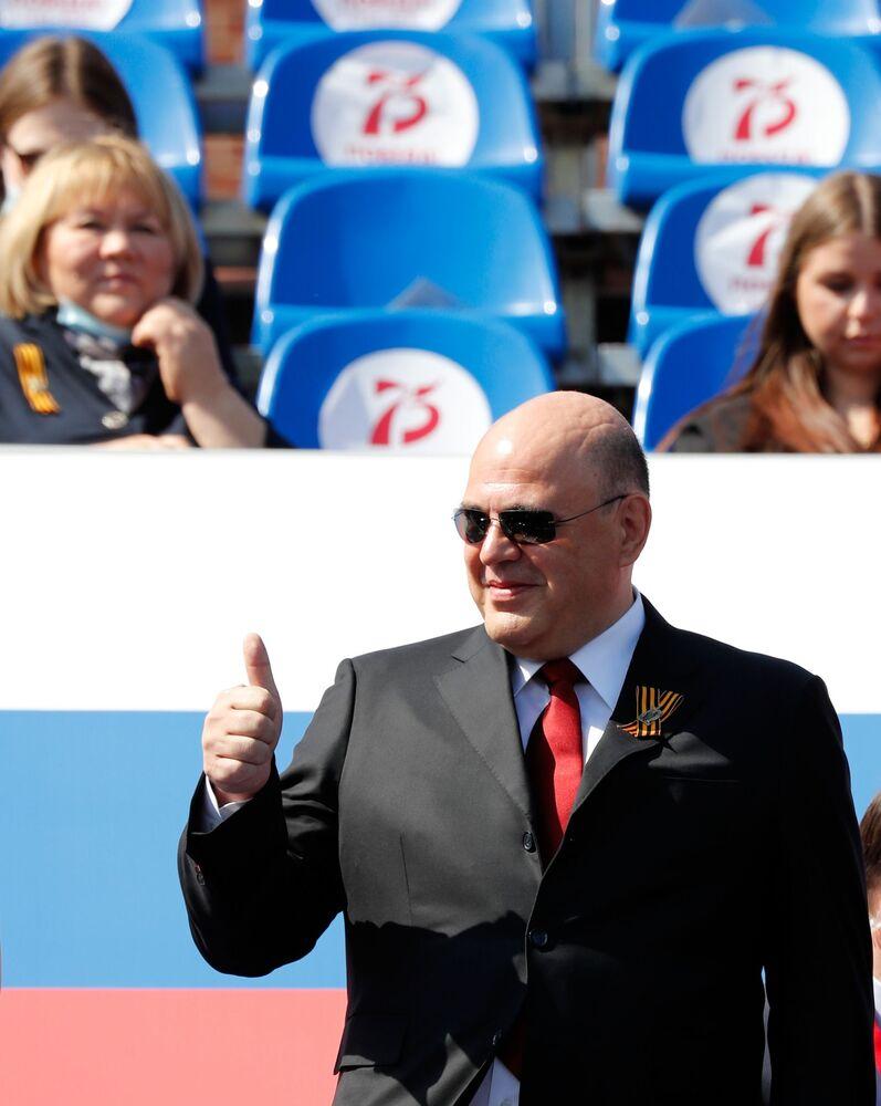 Michaił Muszustin na Defiladzie Zwycięstwa 2020 w Moskwie