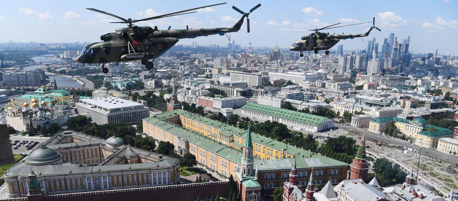 Śmigłowce Mi-8 na Defiladzie Zwycięstwa 2020 w Moskwie - Sputnik Polska, 1920, 22.07.2020