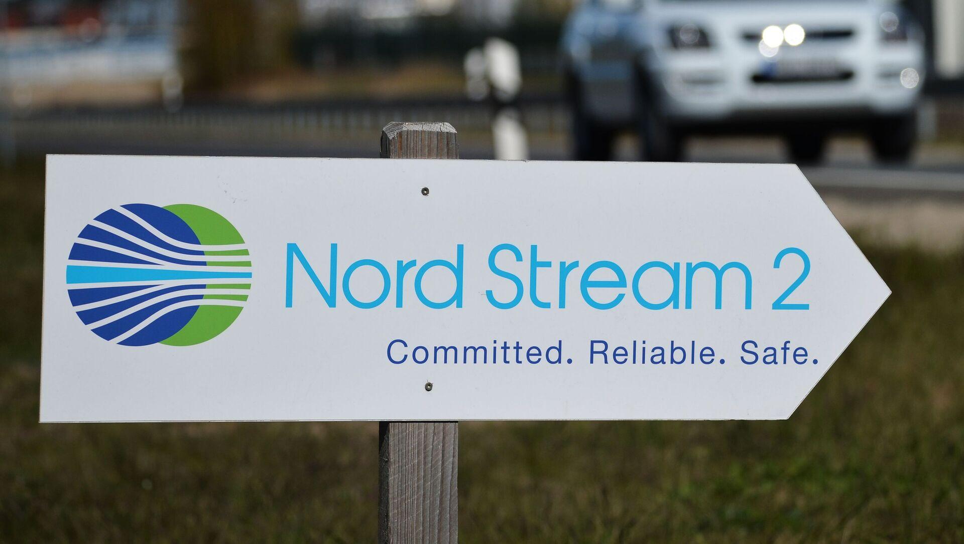 Drogowskaz z symboliką spółki Nord Stream 2 AG  - Sputnik Polska, 1920, 18.05.2021