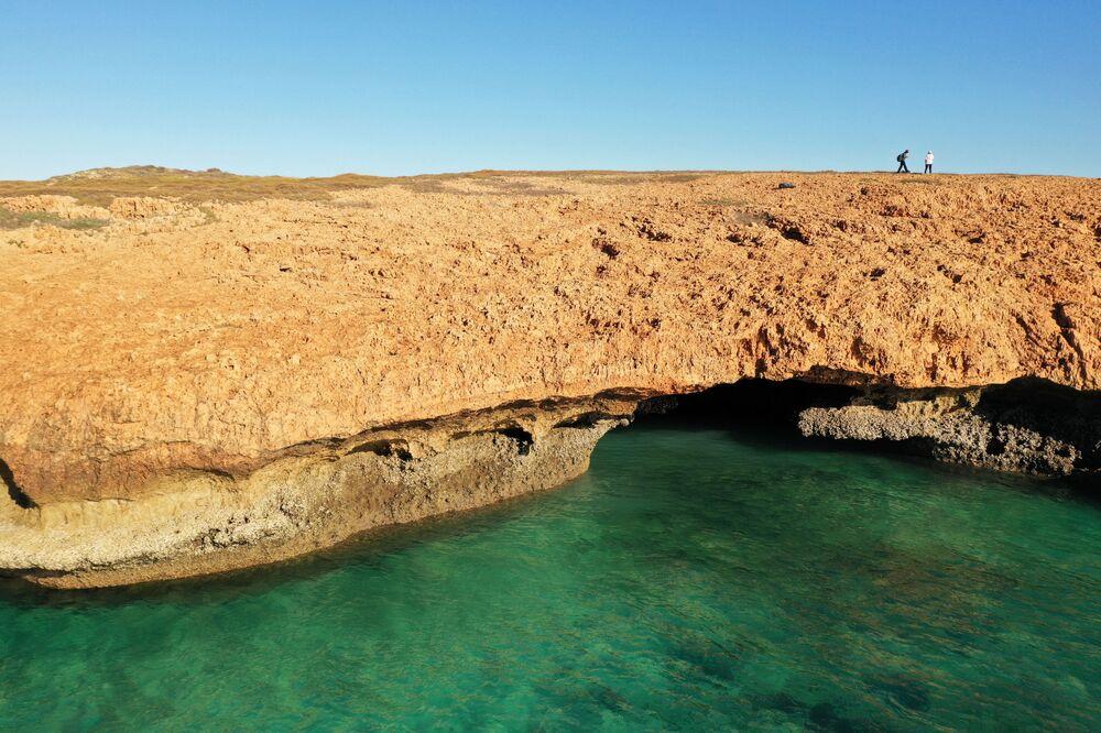 Ogólny widok obszaru, na terenie którego znaleziono artefakty podwodne sprzed tysięcy lat, kiedy dno morskie było lądem, Australia