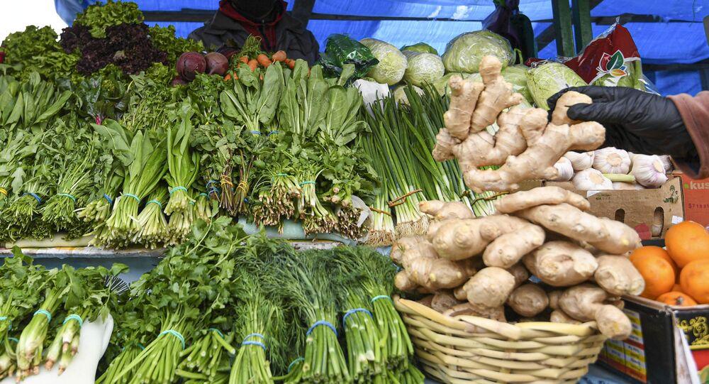 Ryneczek z warzywami w Moskwie
