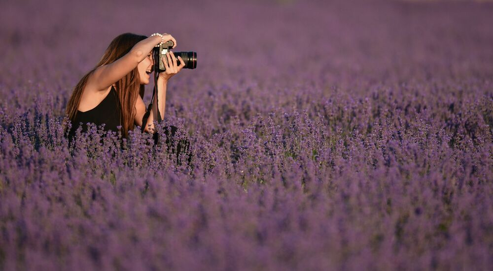 Sesja zdjęciowa na lawendowym polu na Krymie