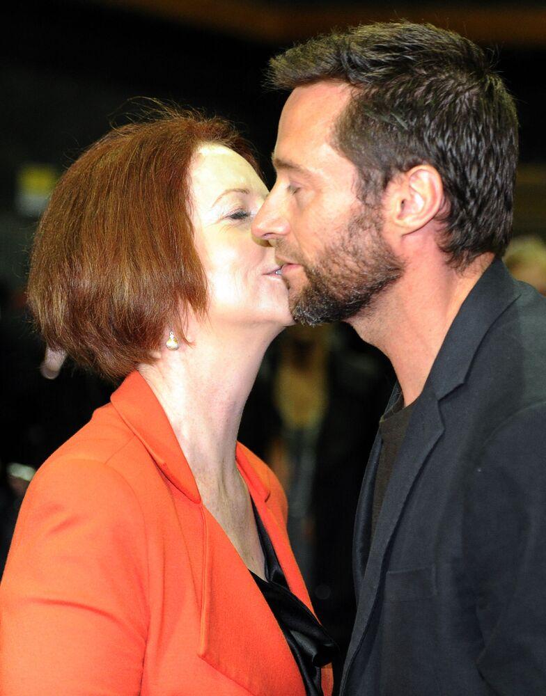 Aktor Hugh Jackman i premier Australii Julia Gillard na planie filmowym w Sydney, 2012 rok