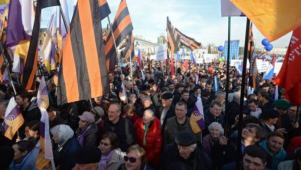 Na wiec z okazji przyłączenia Krymu do Rosji w Moskwie zebrało się ponad 110 tys. osób - Sputnik Polska