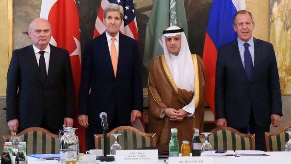 Spotkanie ministrów spraw zagranicznych Rosji, USA, Arabii Saudyjskiej i Turcji w sprawie Syrii w Wiedniu - Sputnik Polska
