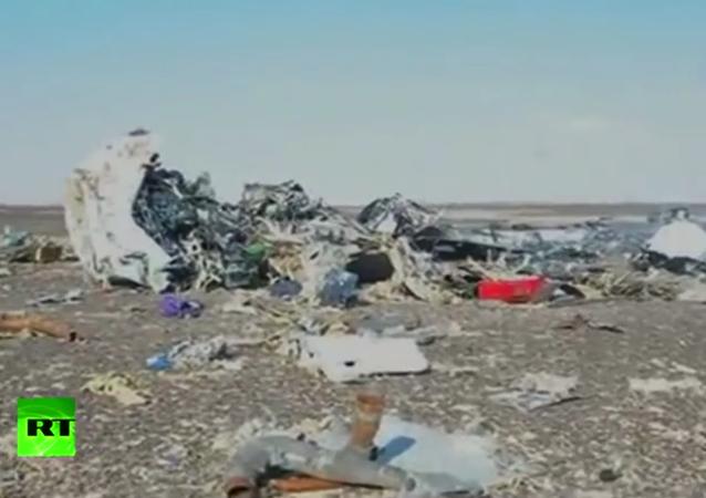 Pierwsze wideo z miejsca katastrofy rosyjskiego samolotu A321 w Egipcie