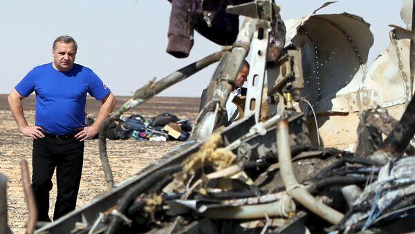 Szef Ministerstwa Spraw Nadzwyczajnych Rosji Władimir Puczkow na miejscu katastrofy rosyjskiego samolotu A321 na Półwyspie Synaj - Sputnik Polska