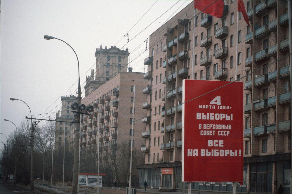 Plakat informujący o nadchodzących wyborach, 1984 rok.