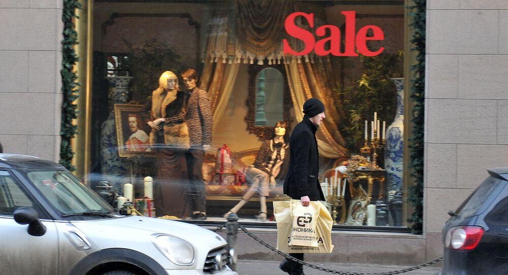 Zimowe wyprzedaże w moskiewskich sklepach