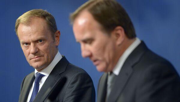 Przewodniczący Rady Europejskiej Donald Tusk i premier Szwecji Stefan Löfven - Sputnik Polska