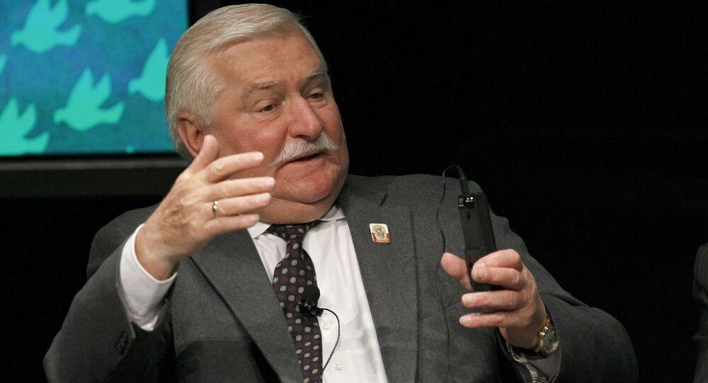 Były prezydent Polski Lech Wałęsa na spotkaniu w Chicago
