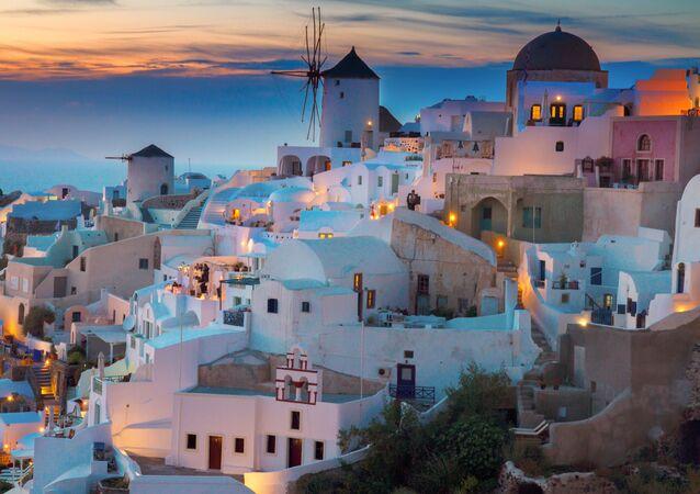 Widok na wieś Santorini w Grecji