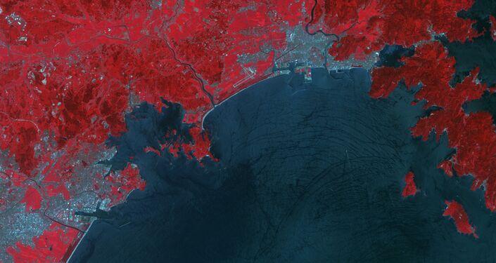 Zdjęcie z kosmosu miasta Ishinomaki po tsunami