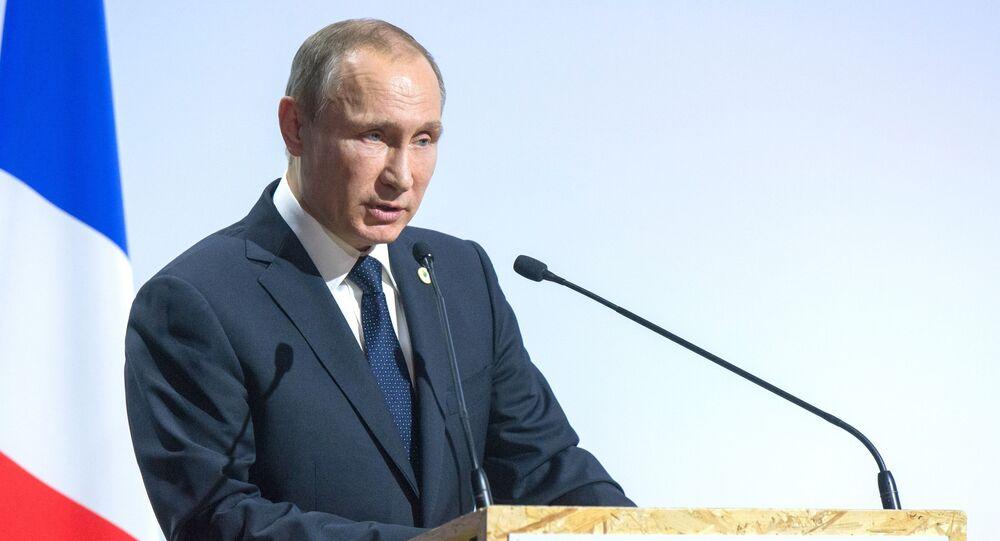 Prezydent Rosji Władimir Putin przemawia na otwarciu Konferencji Narodów Zjednoczonych ws. klimatu w Paryżu