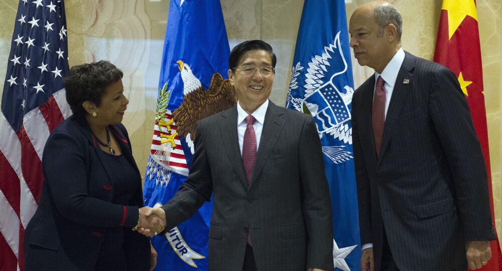 Minister bezpieczeństwa publicznego Chin Guo Shengkun, minister sprawiedliwości USA Loretta Lynch i minister bezpieczeństwa wewnętrznego USA Jay Johnson