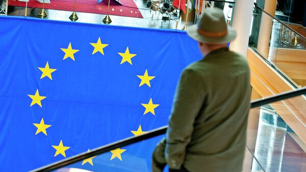 Мужчина смотрит на флаг Евросоюза - Sputnik Polska