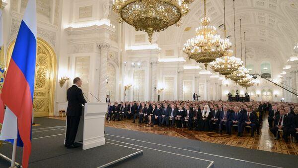 Władimir Putin podczas corocznego Orędzia Prezydenta do Zgromadzenia Federalnego - Sputnik Polska