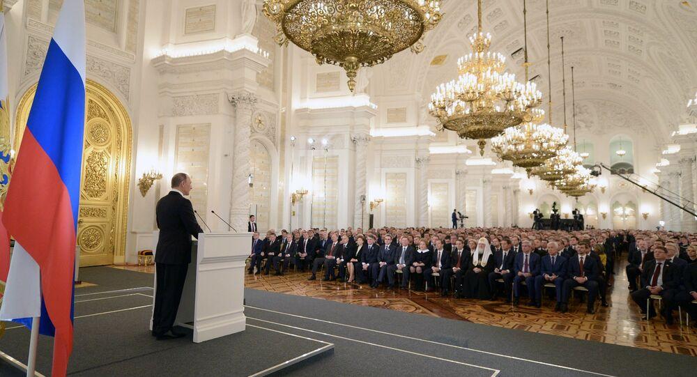 Władimir Putin podczas corocznego Orędzia Prezydenta do Zgromadzenia Federalnego