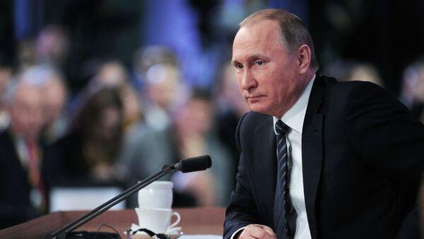 Prezydent Rosji Władimir Putin na jedenastej corocznej konferencji prasowej. 17 grudnia 2015 - Sputnik Polska