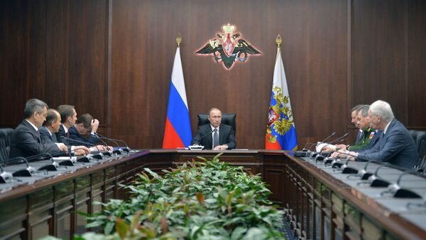 Prezydent Rosji Władimir Putin na posiedzeniu Rady Bezpieczeństwa FR w Moskwie - Sputnik Polska