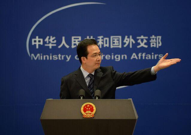 Rzecznik MSZ Chin Hong Lei na konferencji prasowej w Pekinie