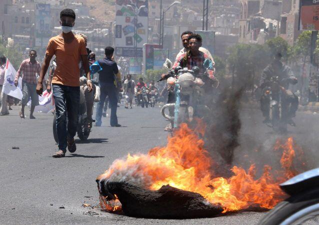 Protesty w mieście Taizz na południu Jemenu