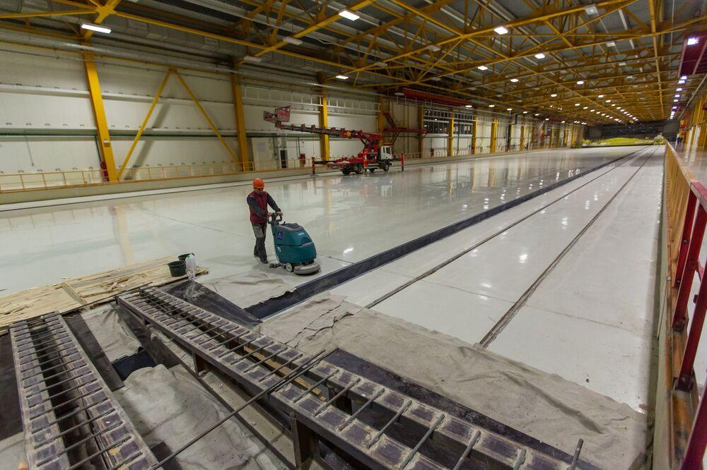 Transpokładowa galeria kompleksu technicznego powstającego kosmodromu Wostocznyj w obwodzie amurskim.