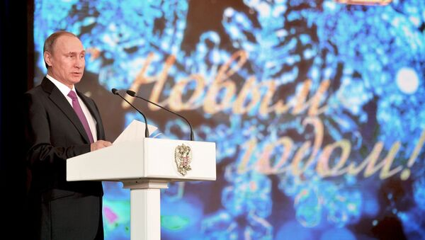 Prezydent Rosji Władimir Putin przemawia podczas przyjęcia noworocznego na Kremlu - Sputnik Polska