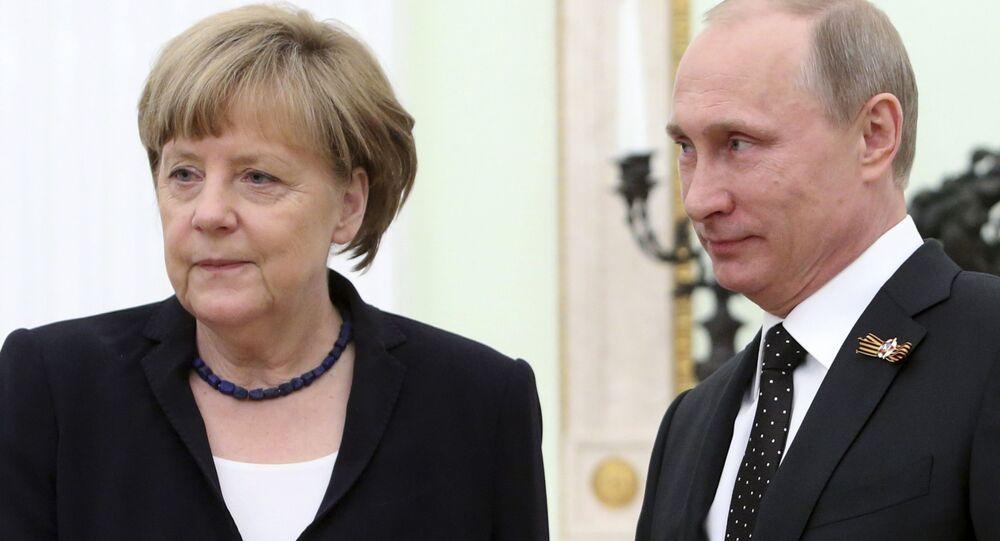 Kanclerz Niemiec Angela Merkel i prezydent Rosji Władimir Putin na spotkaniu na Kremlu