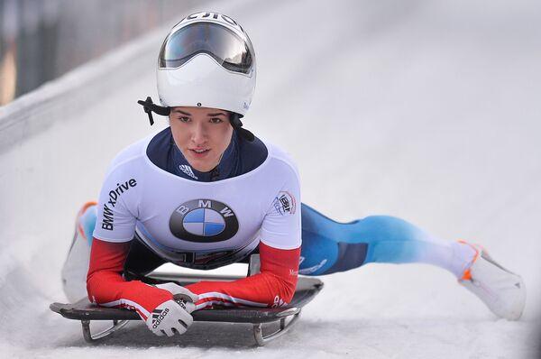 Julia Kanakina (Rosja) na mecie wyścigu w skeletonie kobiet podczas trzeciego etapu Pucharu Świata w bobsleju i skeletonie w Koenigssee. - Sputnik Polska