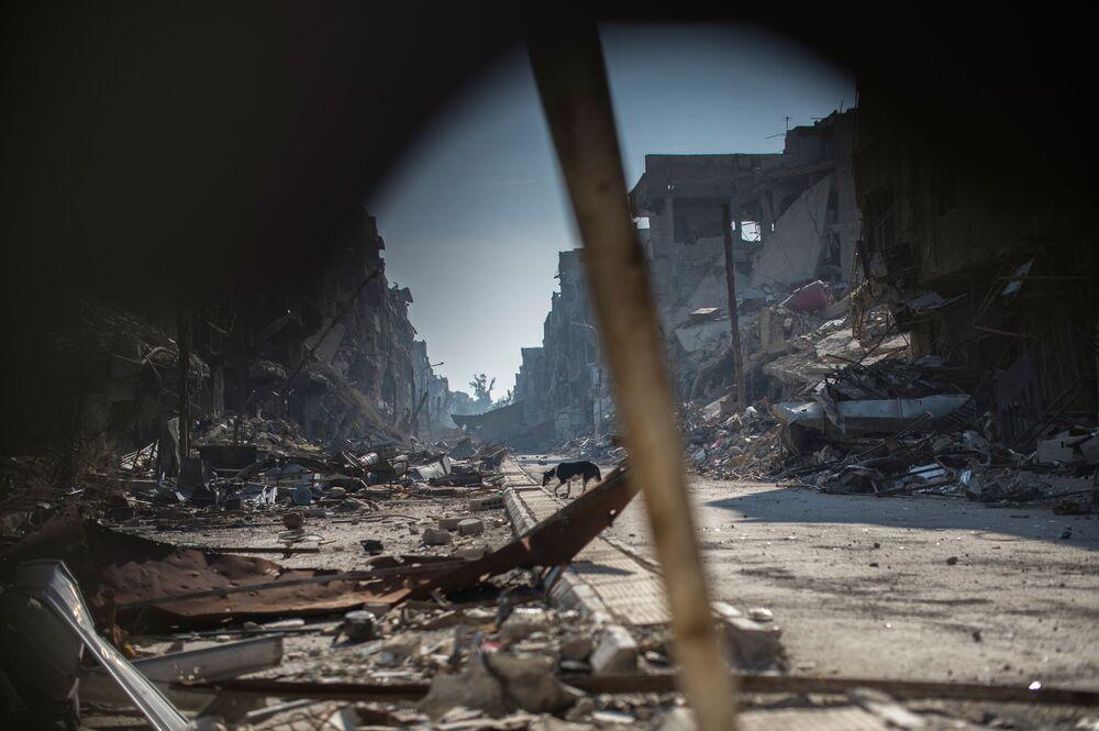 Zniszczenia w rejonie Jarmuk w Damaszku.