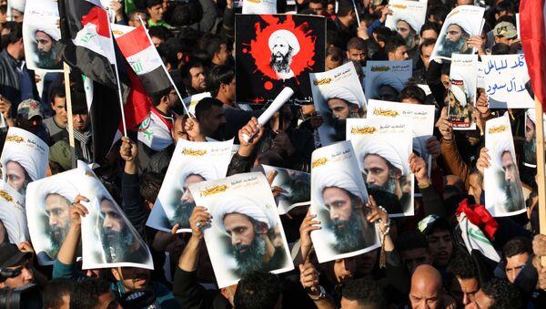 Iraccy szyici podczas demonstracji w Bagdadzie - Sputnik Polska