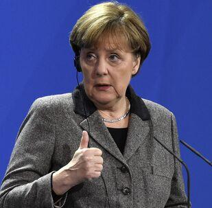 Kanclerz Niemiec Angela Merkel w czasie konferencji prasowej w Berlinie