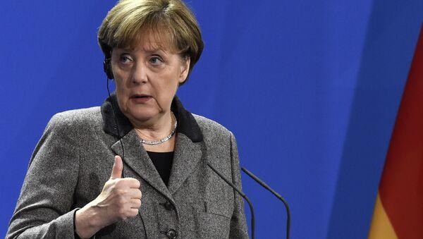 Kanclerz Niemiec Angela Merkel w czasie konferencji prasowej w Berlinie - Sputnik Polska