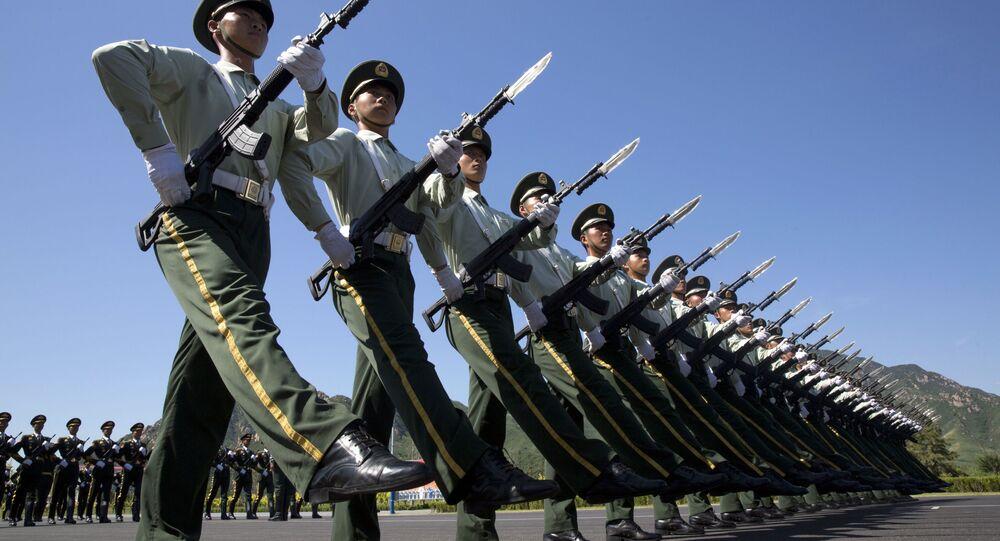 Chińskie wojska na próbie parady wojskowej z okazji 70. rocznicy zwycięstwa nad faszyzmem