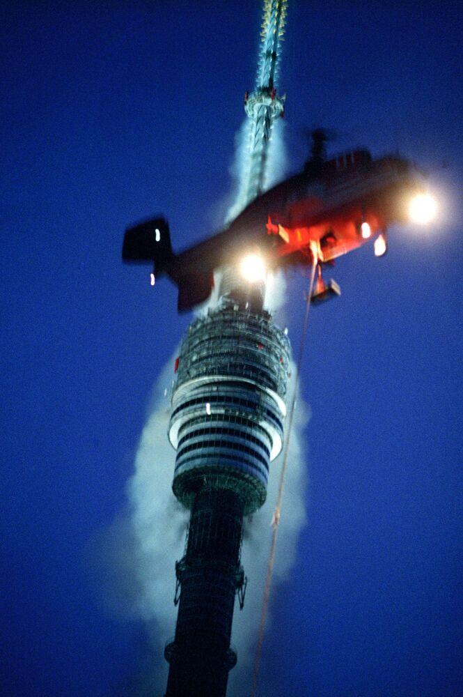 Pracy przy likwidacji pożaru na Wieży Telewizyjnej Ostankino