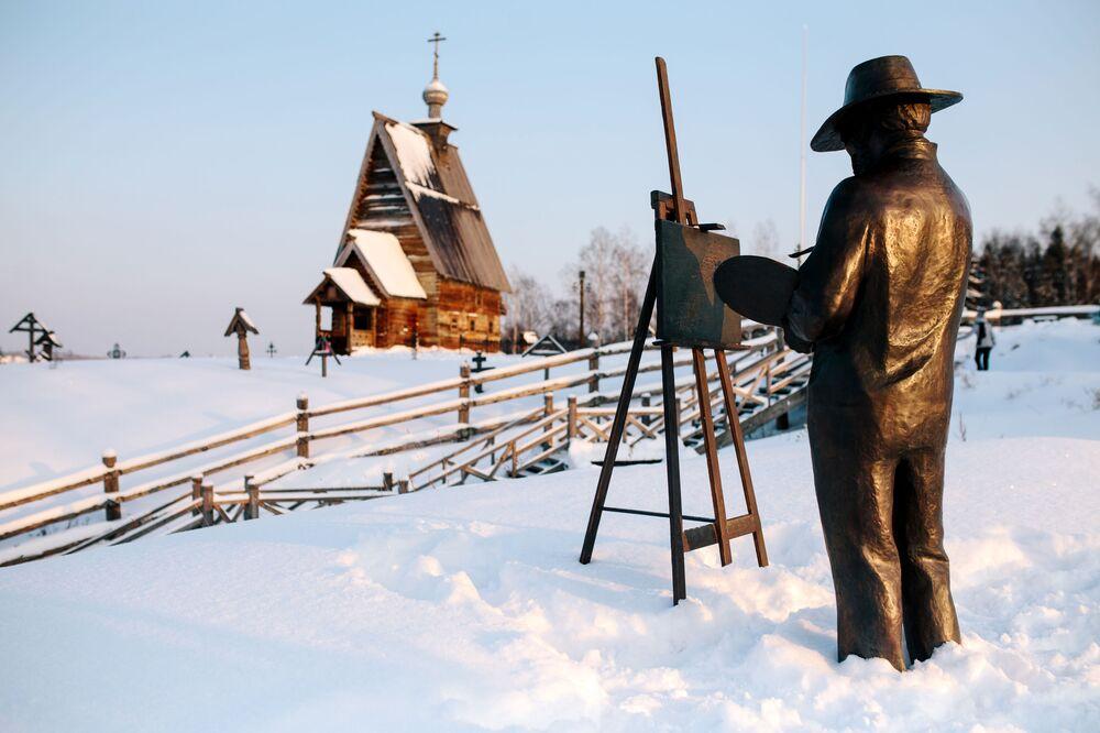 """Pomnik rosyjskiego malarza Isaaka Lewitana, autora obrazu """"Nad wiecznym pokojem"""", Plos."""