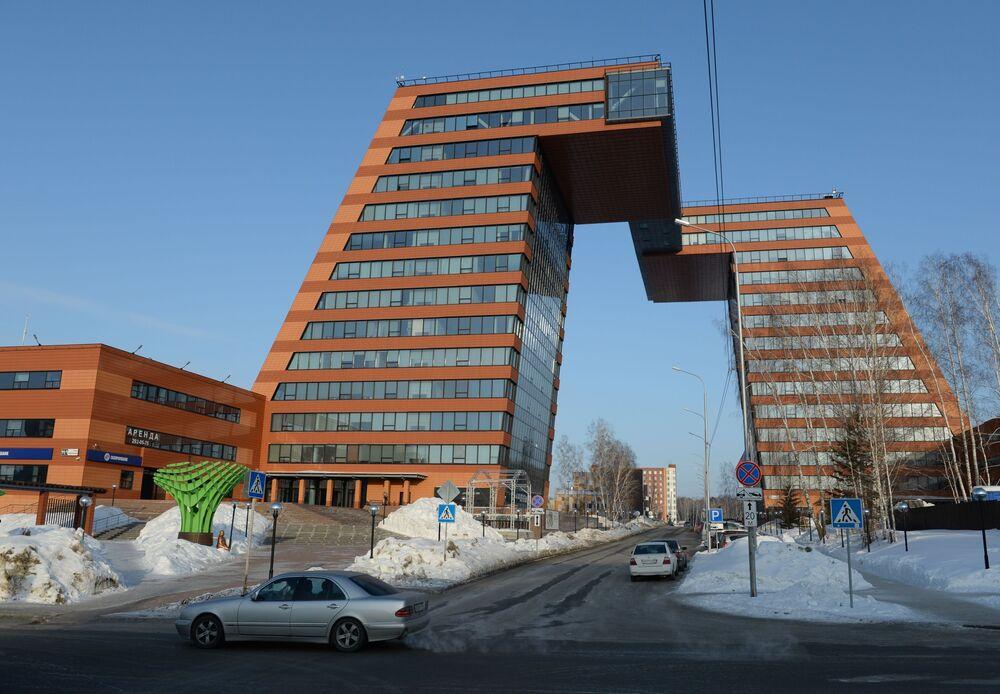 Wieże Technoparku zlokalizowanego na terytorium miasteczka akademickiego w Nowosybirsku