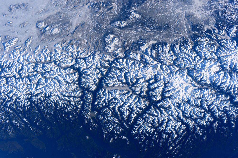 Zdjęcie zachodniego wybrzeżu Kanady zrobione na Międzynarodowej stacji kosmicznej